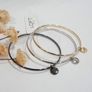 LOFT Three Tone Metallic Bangle Bracelet Set NWT